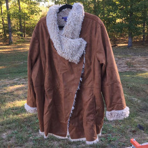 Faux Suede Shearling lined Jacket Coat 3X #19